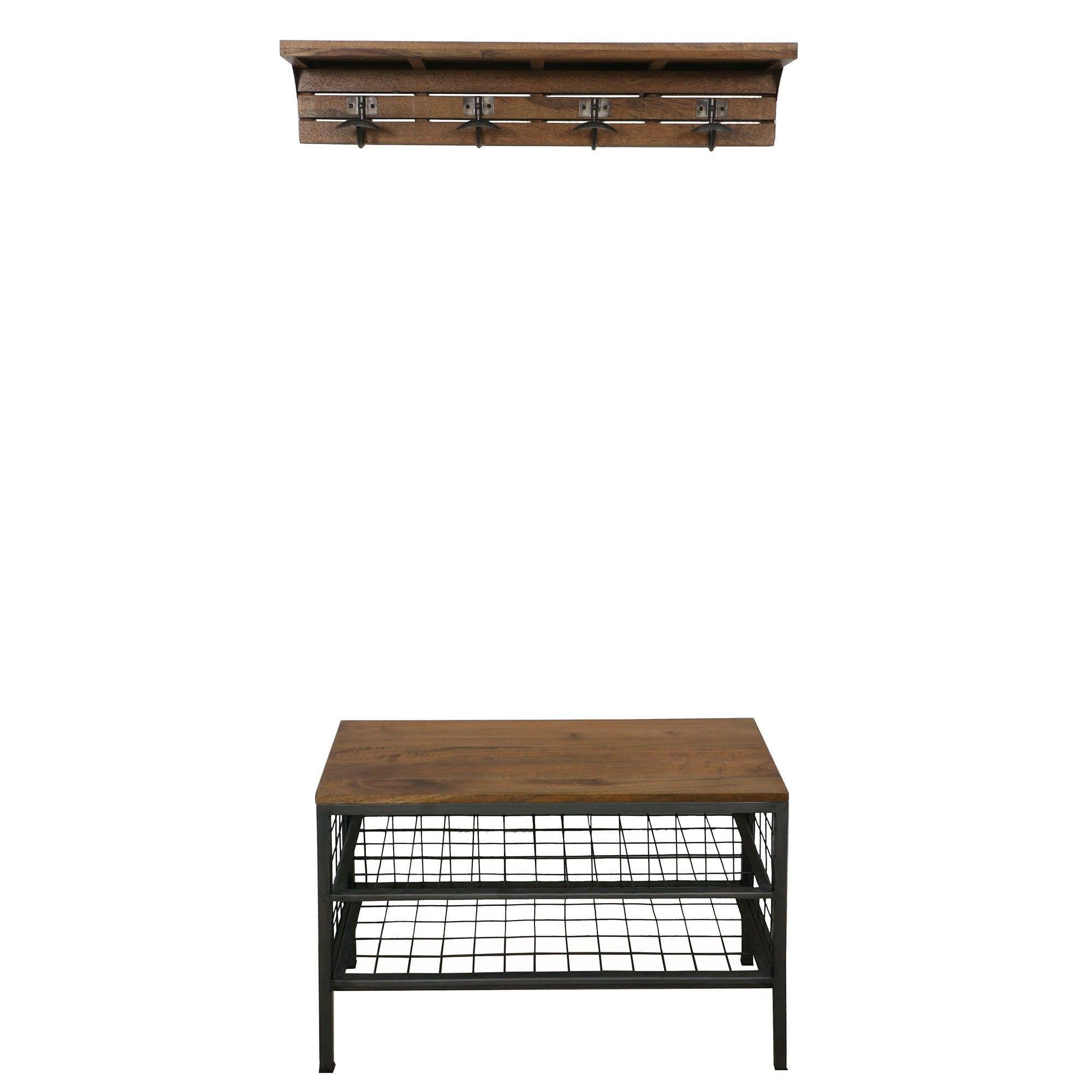 Chivaley Mango Wood & Steel Hallway Stand