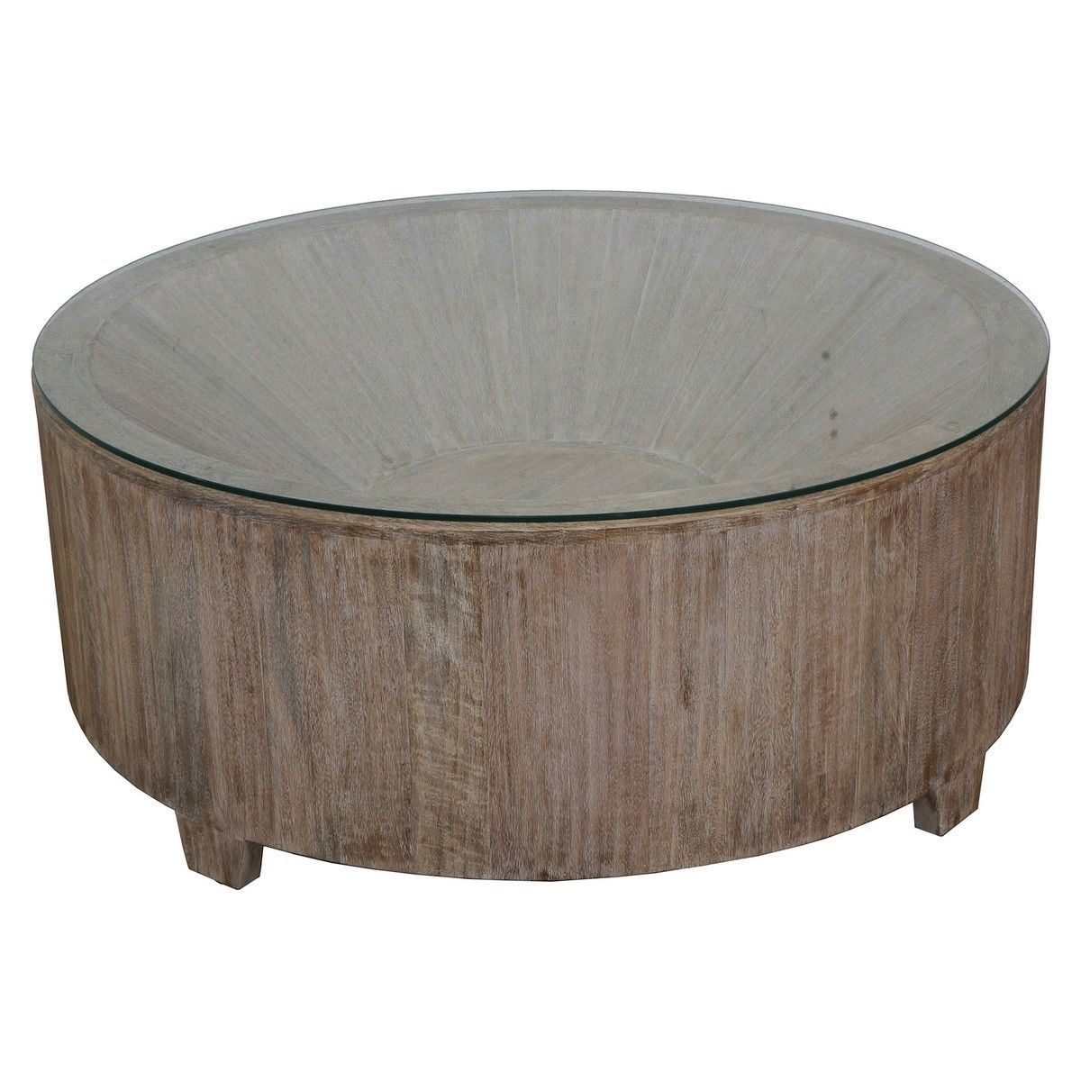 Biron Teak Timber Round Coffee Table with Glass Top, 90cm
