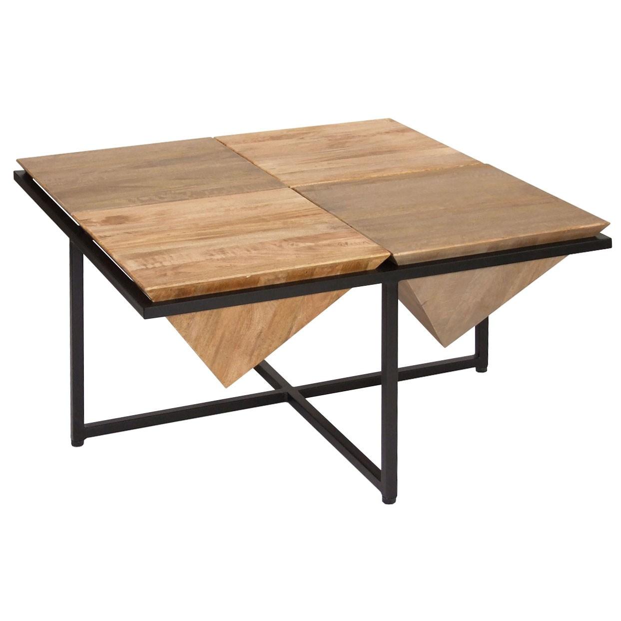 French Stamped Mango Coffee Table: Landrau Mango Wood & Metal Square Coffee Table, 80cm
