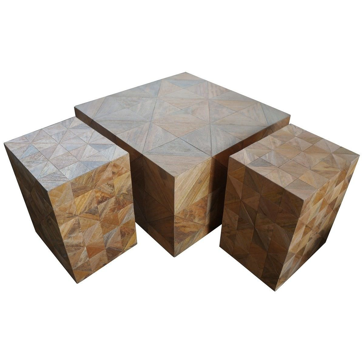 Biac 3 Piece Mango Wood Block Coffee & Side Table Set