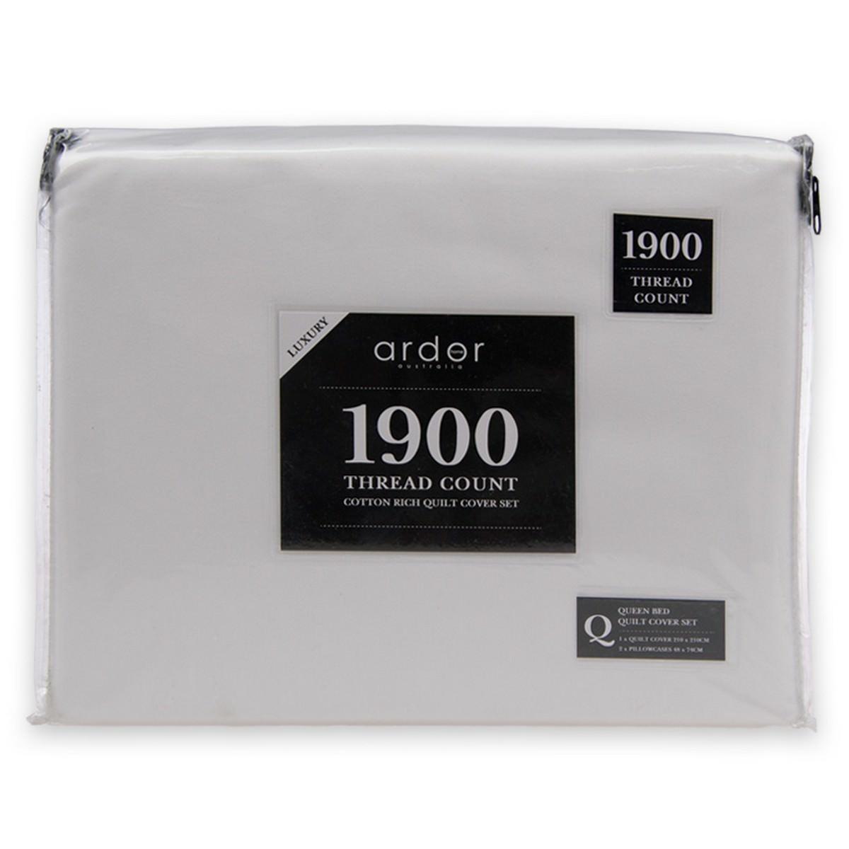 Ardor 1900TC Cotton Rich Quilt Cover Set, Queen, White
