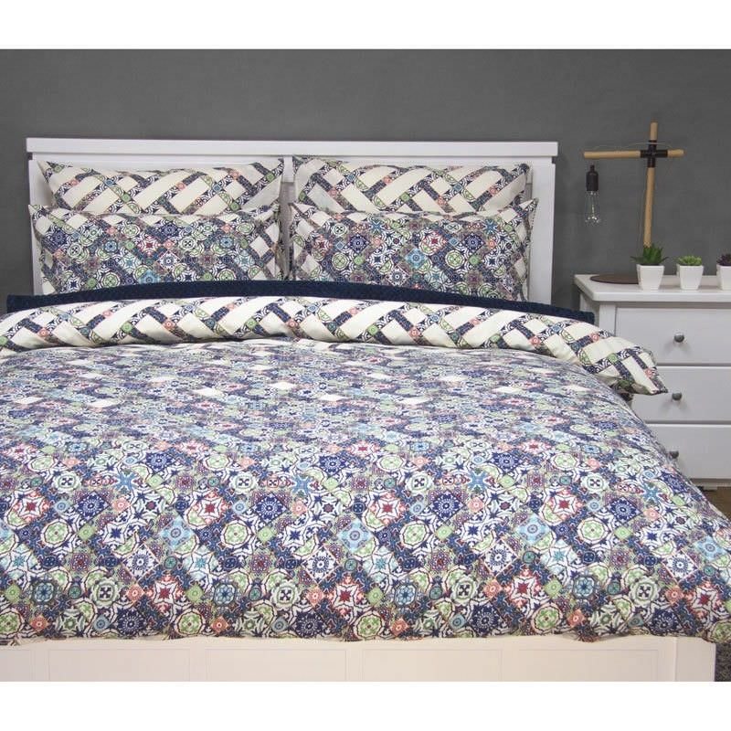 Corley Queen Size Reversible Printed Quilt Cover Set - Multi