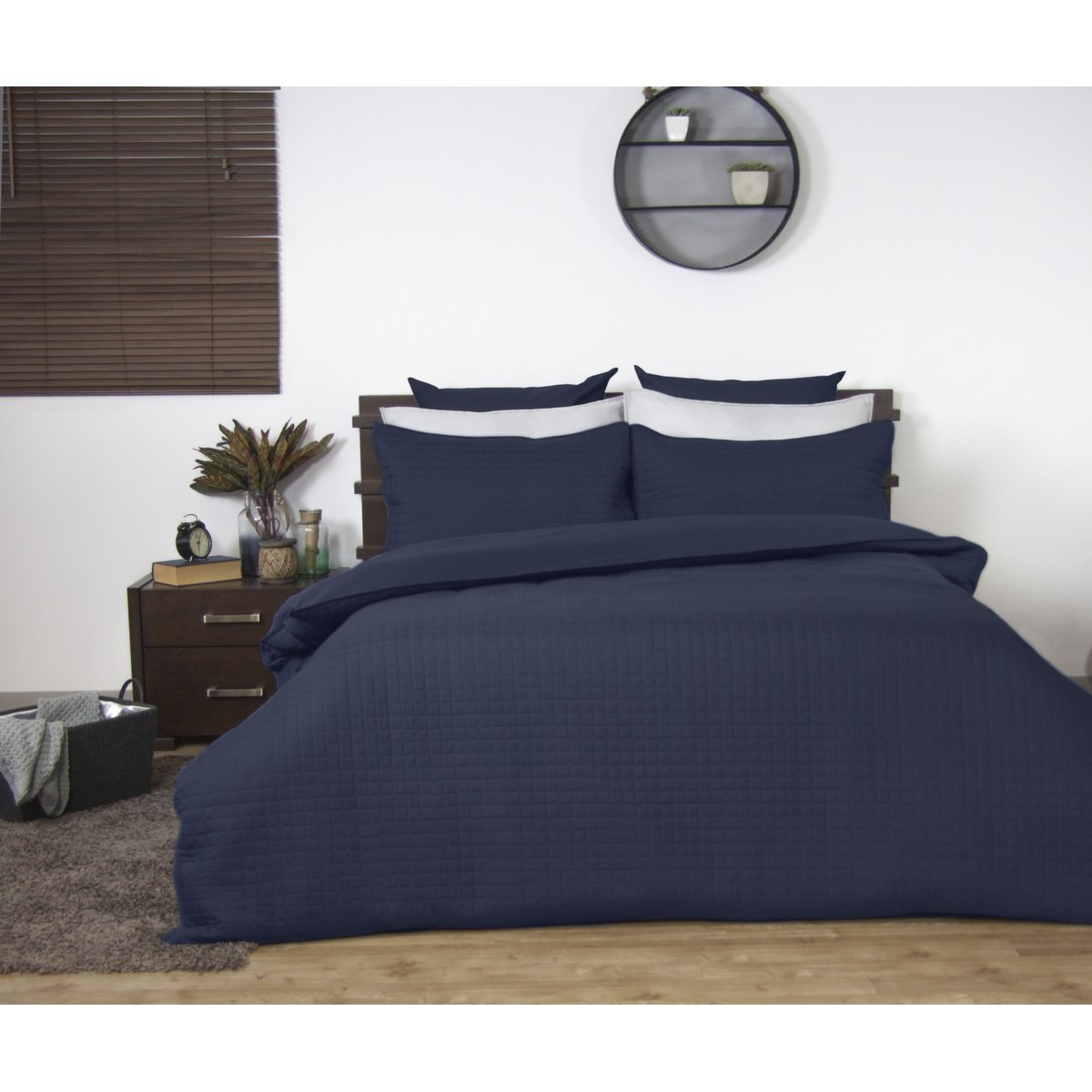 Ardor Boudoir Quilted Quilt Cover Set, Single, Navy