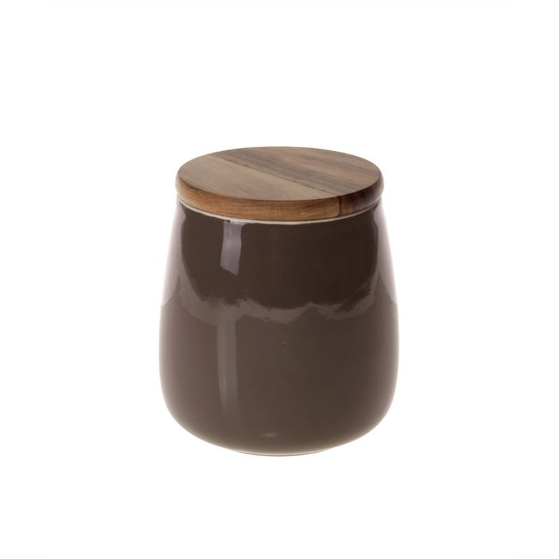 Taupe Pot with Wood Lid - 15cm