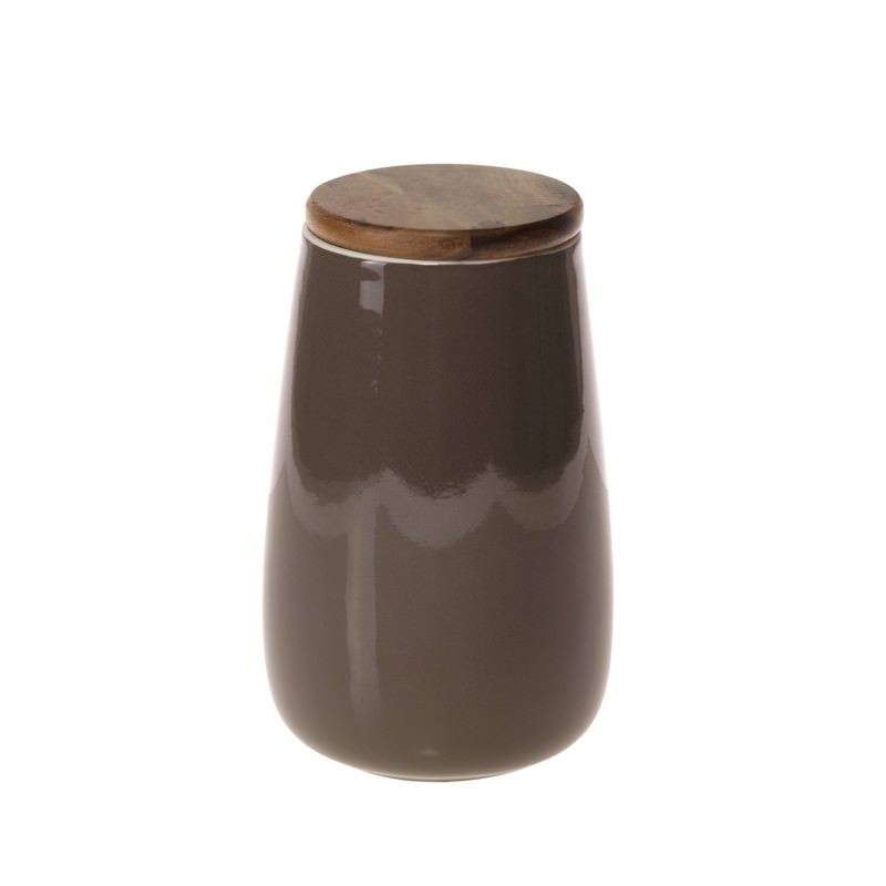 Taupe Pot withWood Lid - 22cm