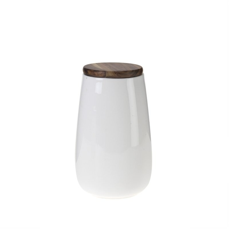 White Pot with Wood Lid - 22cm