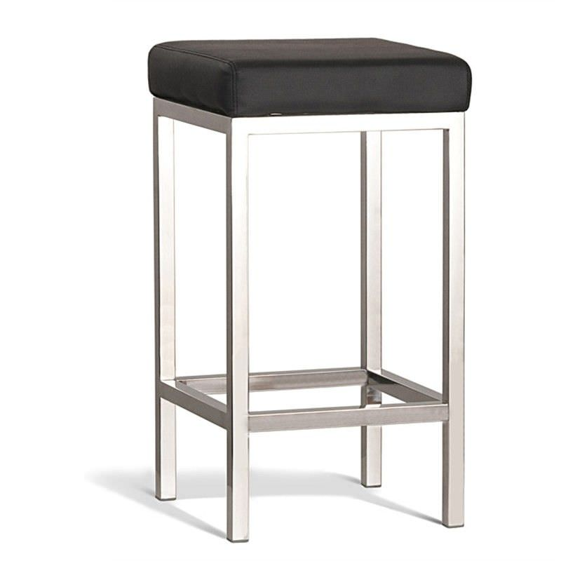 Quadro Commercial Grade Polished Stainless Steel Counter Stool, Black