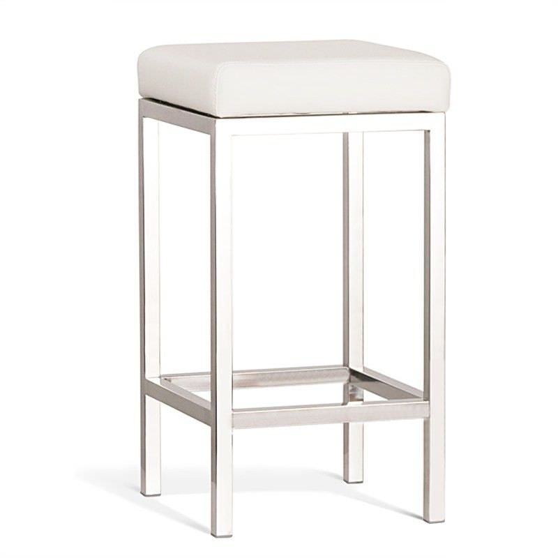 Quadro Commercial Grade Polished Stainless Steel Counter Stool, Off White