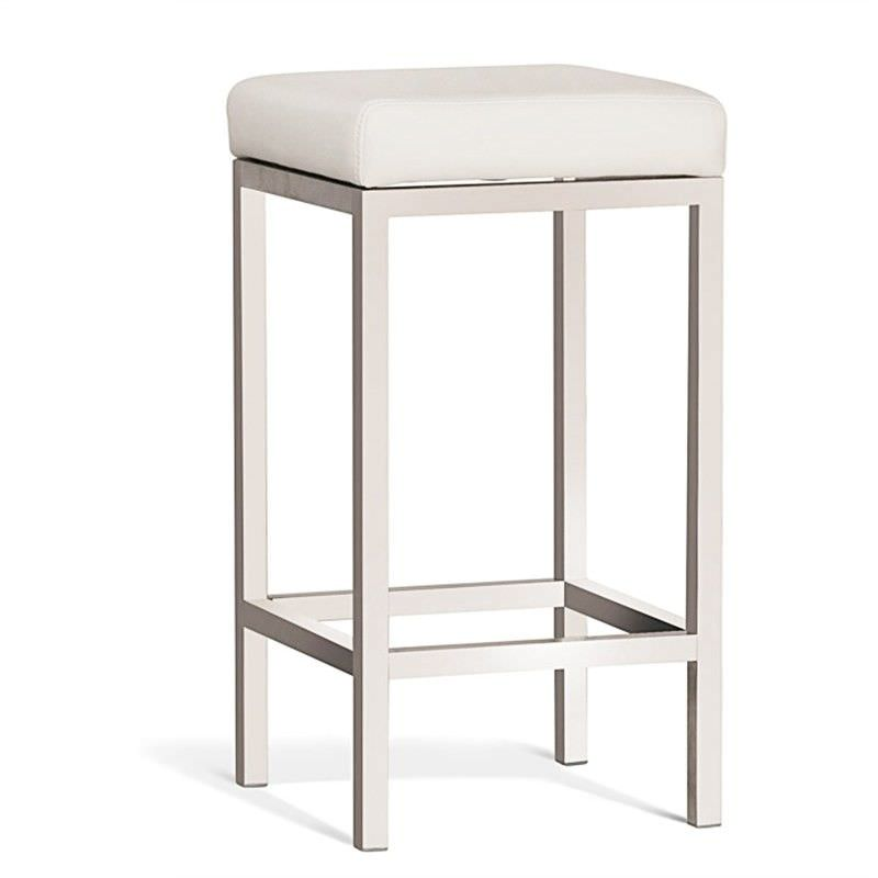 Borgo Commercial Grade Brushed Stainless Steel Counter Stool, Off White