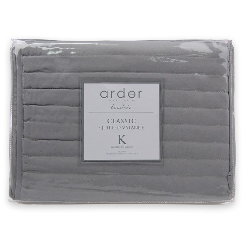 Ardor Boudoir Quilted Valance, King, Silver
