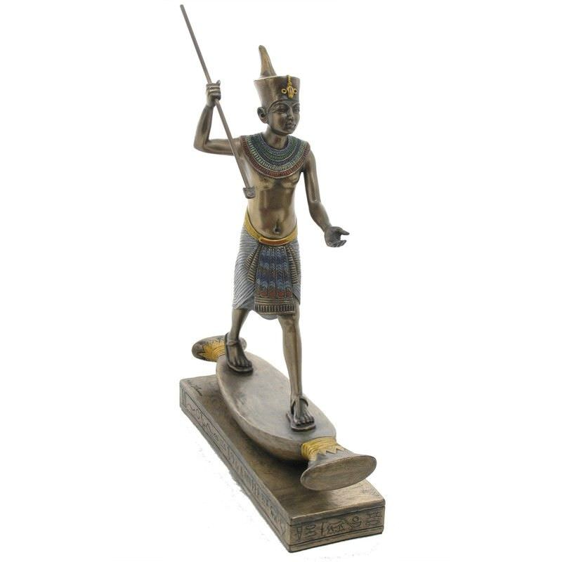Cast Bronze Figurine of King Tutankhamun Hunting Hippopotamus