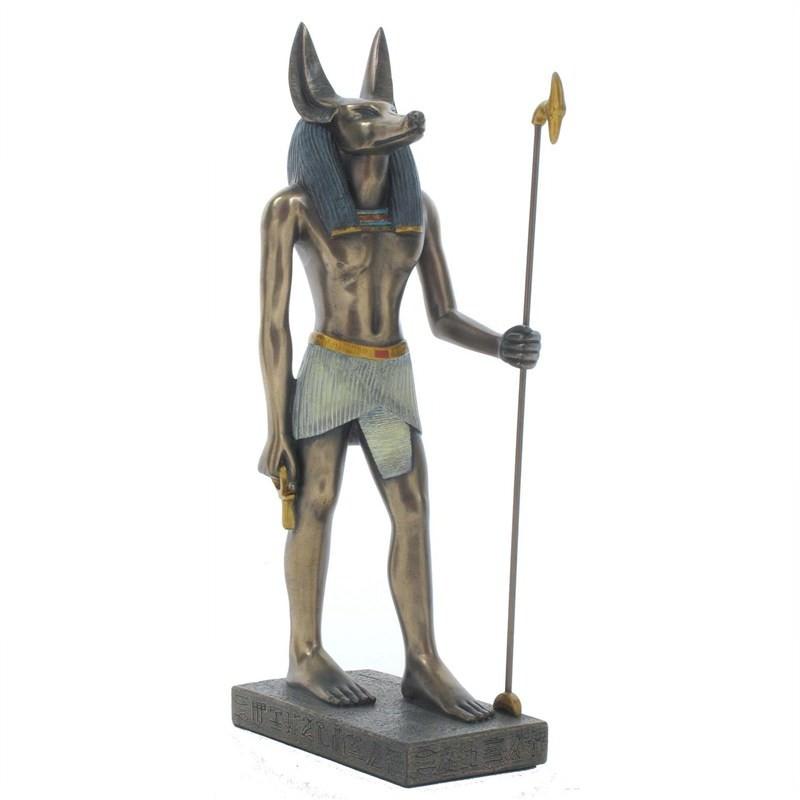 Cast Bronze Egyptian Mythology Figurine, Standing Anubis, Small