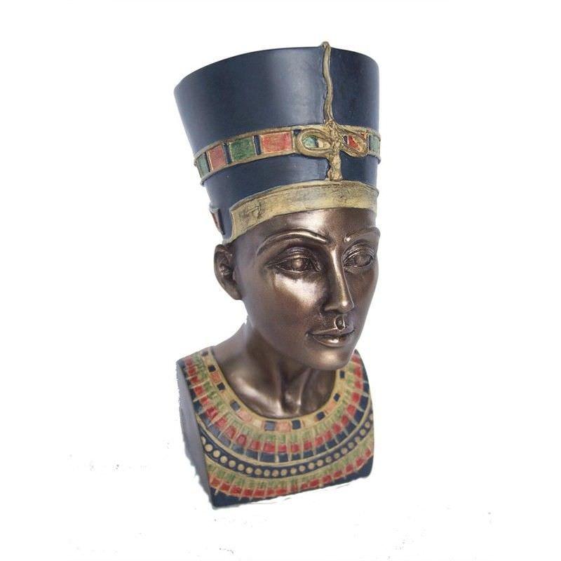 Veronese Cold Cast Bronze Coated Bust Sculpture, Queen Nefertiti, Small