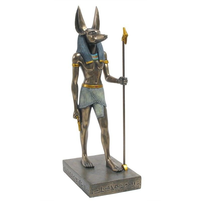 Veronese Cold Cast Bronze Coated Egyptian Mythology Figurine, Standing Anubis, Large
