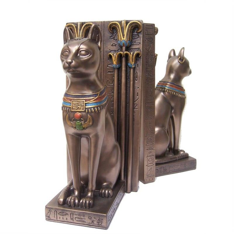 Cast Bronze Bastet Figurine Bookend Set