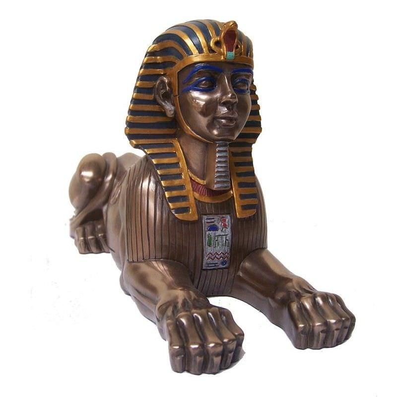 Cast Bronze Egyptian Mythology Figurine, Sphinx