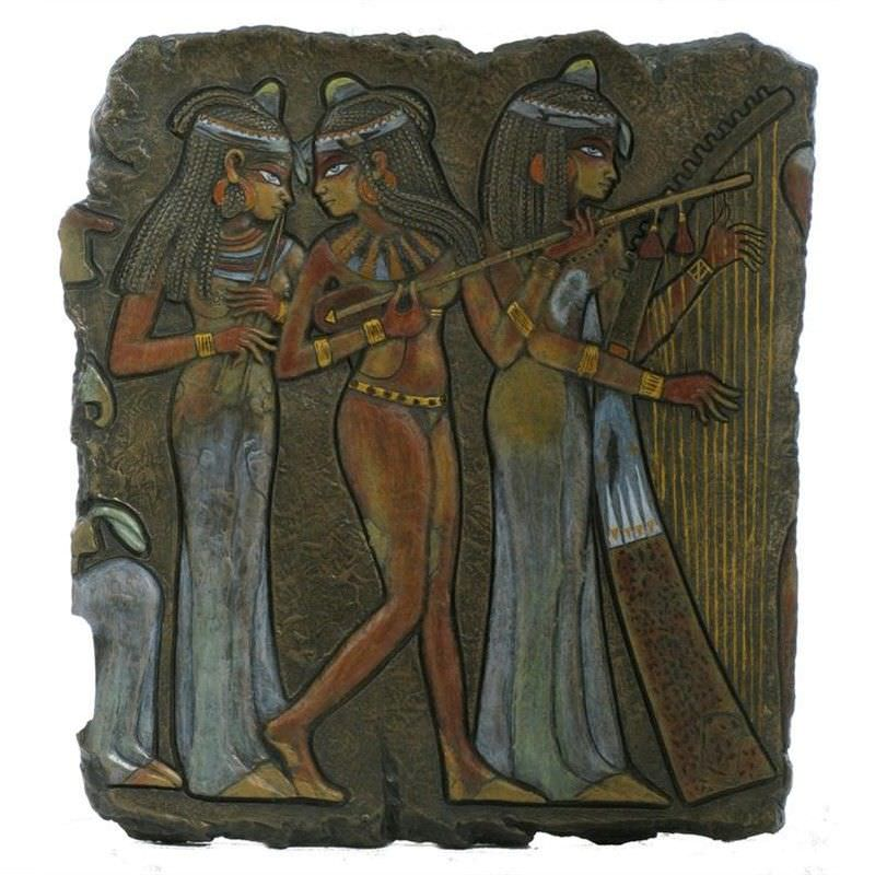 Cast Bronze Egyptian Musicians Wall Plaque