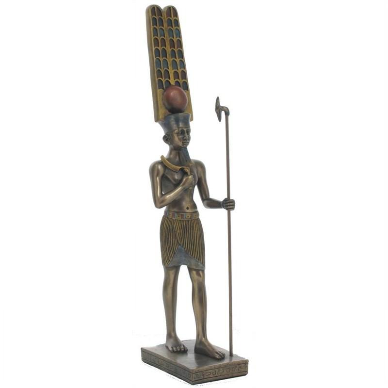 Veronese Cold Cast Bronze Coated Egyptian Mythology Figurine, Amun-Ra