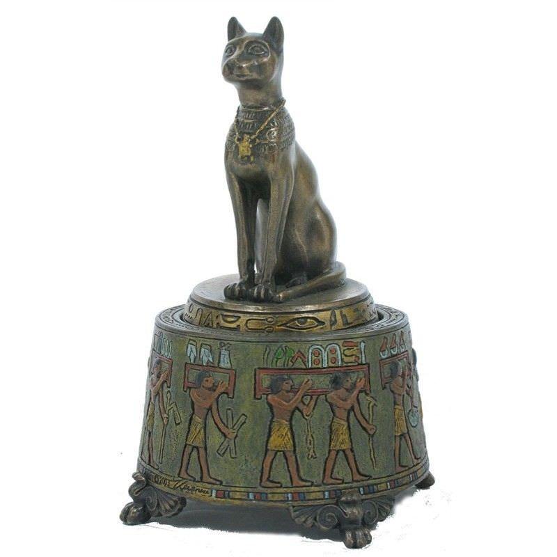 Cast Bronze Bastet Figurine Music Box