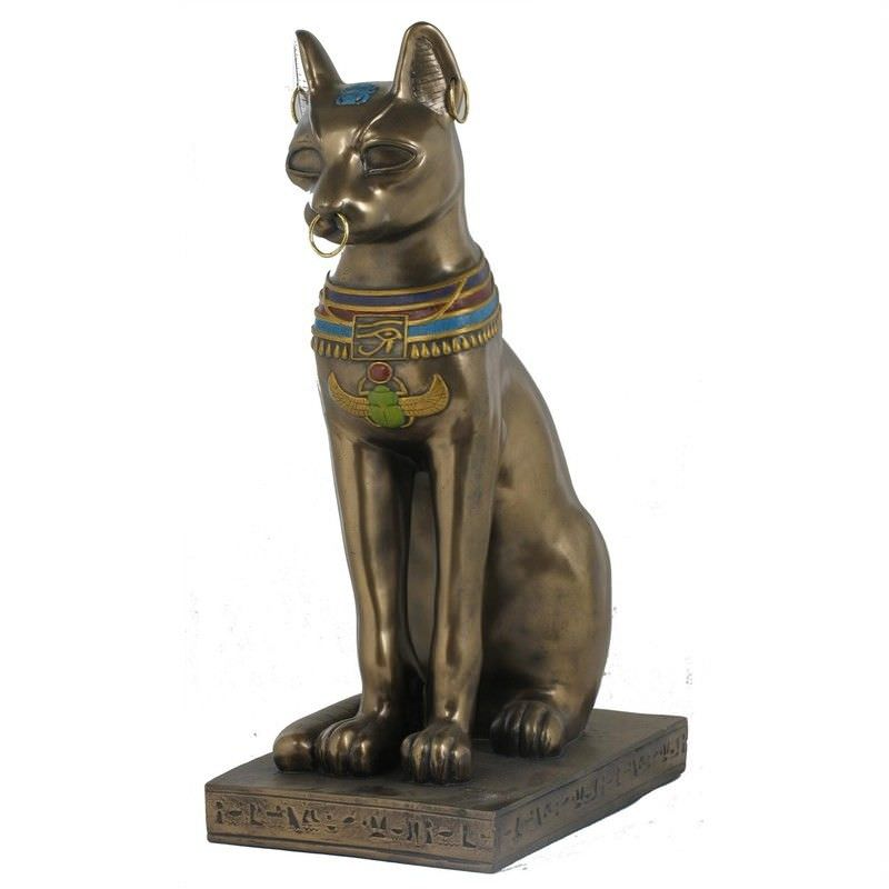 Cast Bronze Egyptian Mythology Figurine, Bastet with Earrings, Large