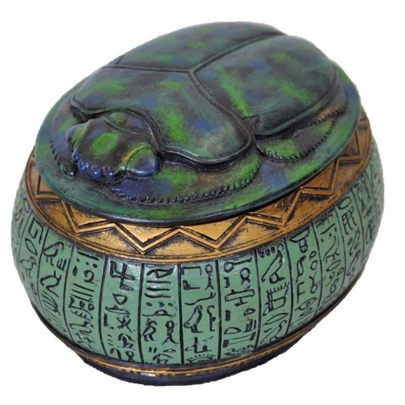 Veronese Cold Cast Bronze Coated Scarab Beetle Trinket Box