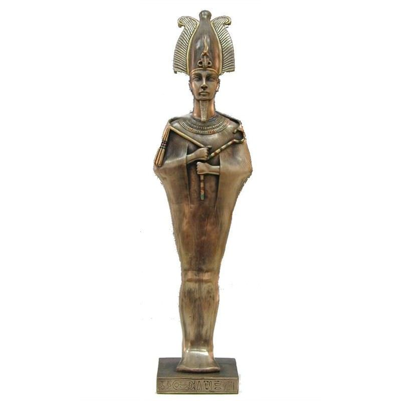 Veronese Cold Cast Bronze Coated Egyptian Mythology Figurine, Standing Osiris
