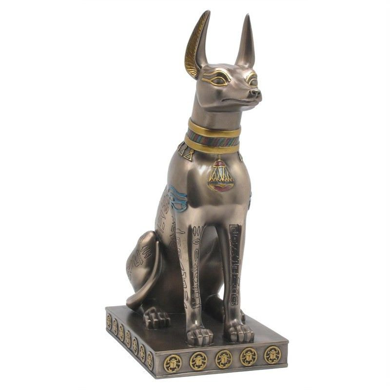 Cast Bronze Egyptian Mythology Figurine, Sitting Anubis