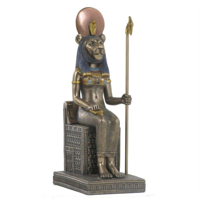 Cast Bronze Egyptian Mythology Figurine, Sitting Sekhmet
