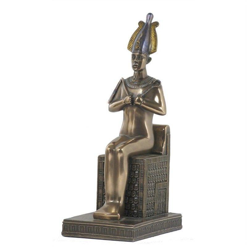 Cast Bronze Egyptian Mythology Figurine, Sitting Osiris