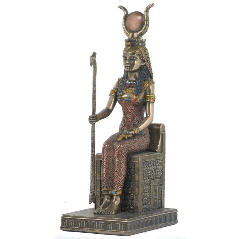 Cast Bronze Egyptian Mythology Figurine, Sitting Isis
