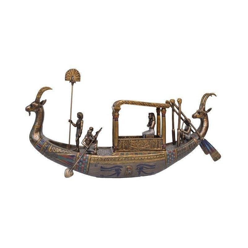 Cast Bronze Figurine of King Tutankhamun on Boat