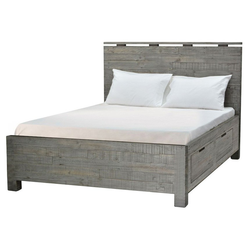 Rustic Bayview Reclaimed Timber Bed with Storage, Queen