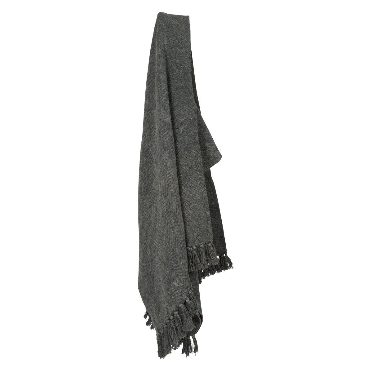 Kitson Stone Washed Cotton Throw with Tassels, Grey