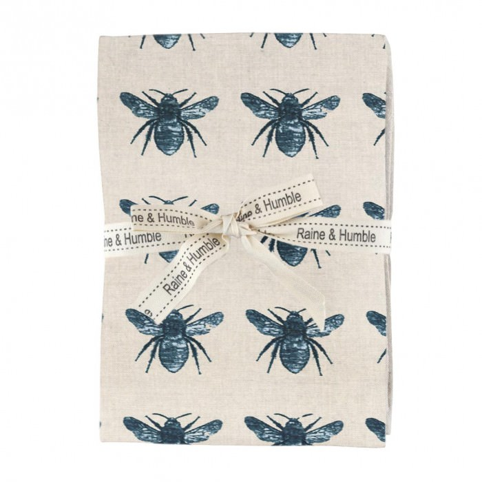 Honey Bee 4 Piece Fabric Napkin Set, Blue / Beige