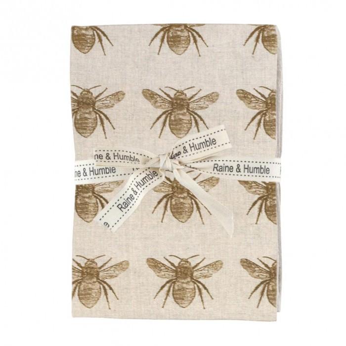 Honey Bee 4 Piece Fabric Napkin Set, Mustard / Beige