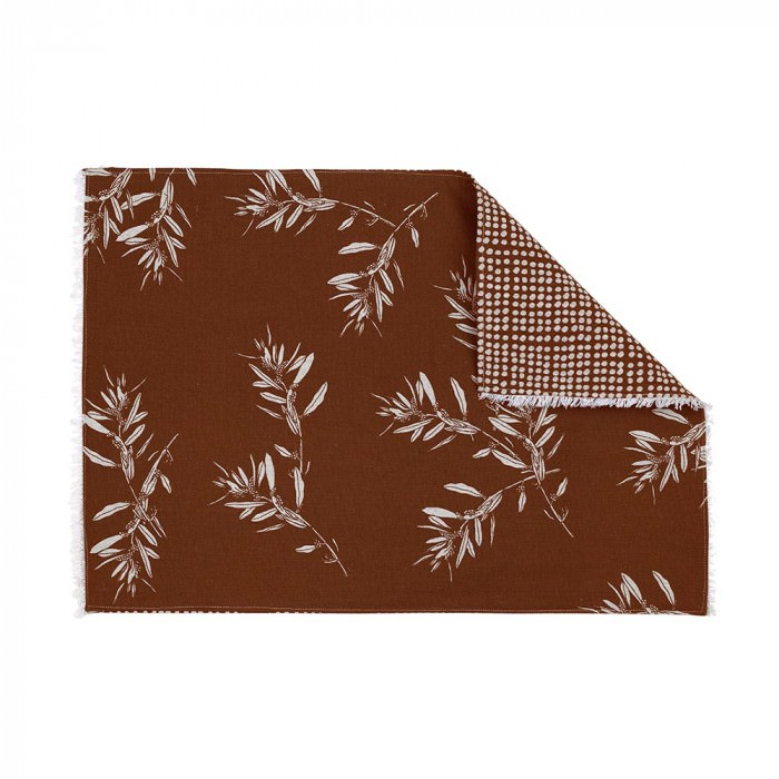 Olive Grove & Cotswold 4 Piece Fabric Placemat Set, Terracotta