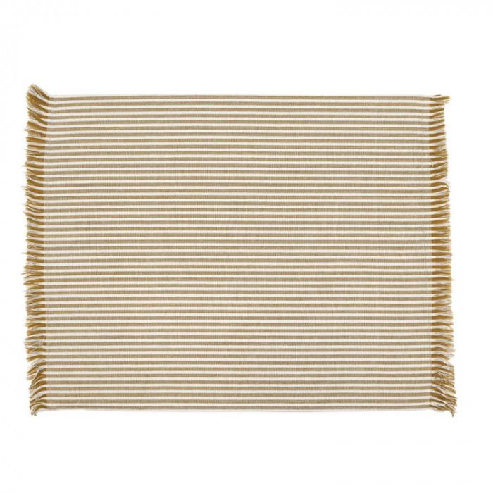 Abby 4 Piece Stripe Fabric Placemat Set, Mustard