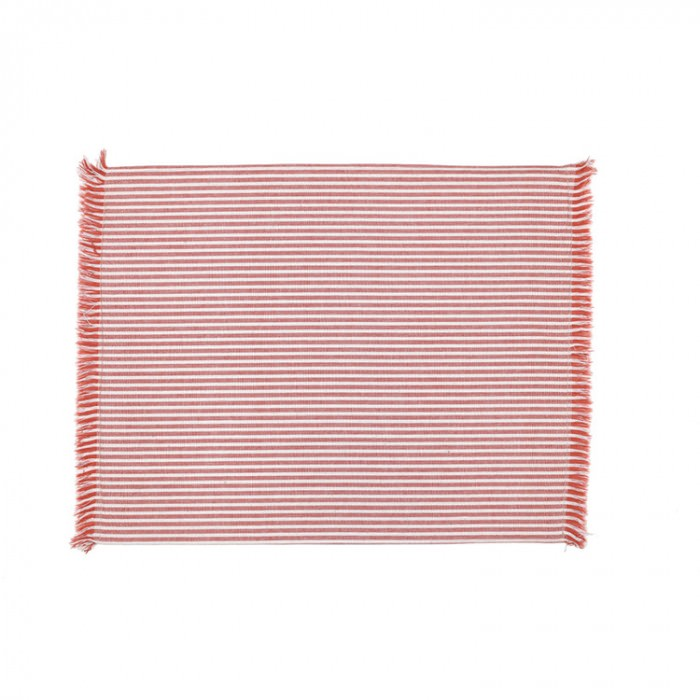 Abby 4 Piece Stripe Fabric Placemat Set, Terracotta