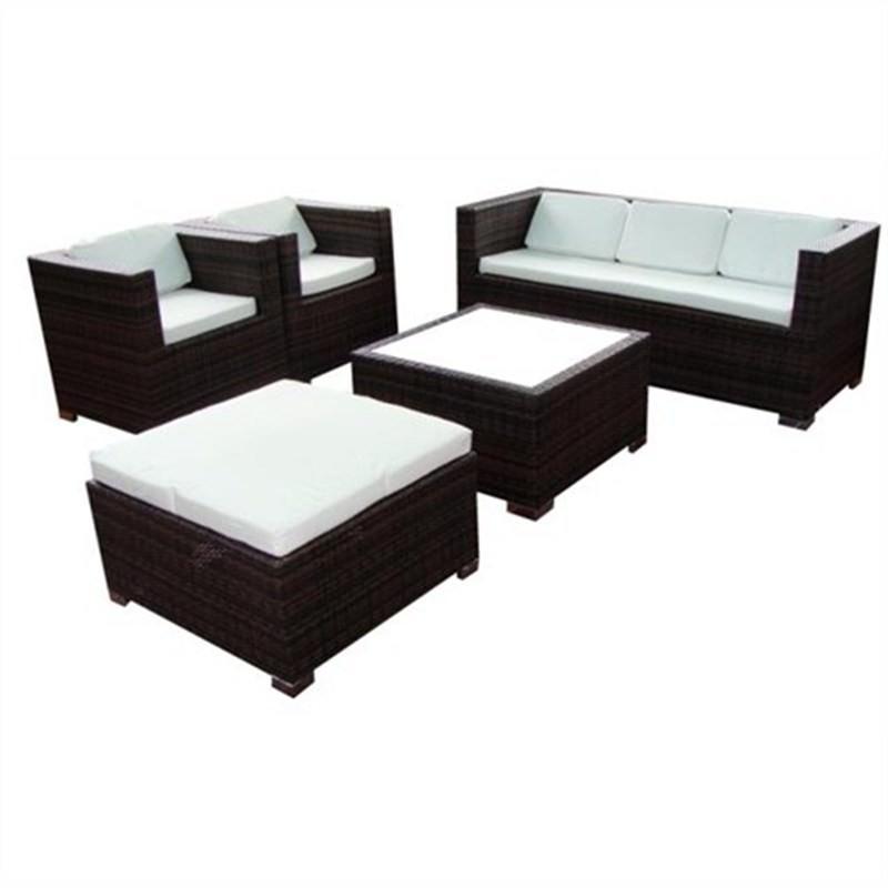 RICHMOND, Wicker Sofa Setting Dark Brown UV Treated Weather Proff