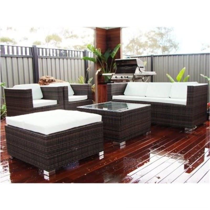 RICHMOND, Wicker Sofa Setting Dark Brown UV Treated Weather Proff