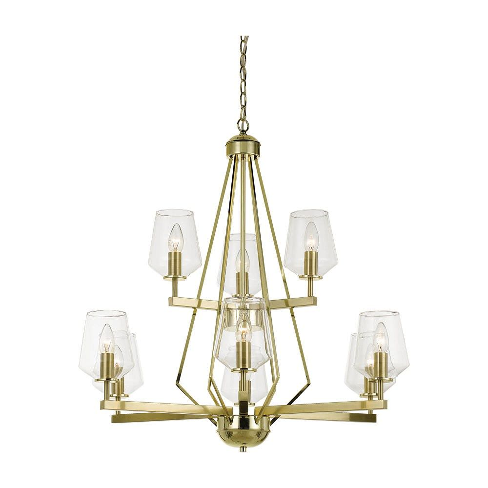 Risley Metal Pendant Light / Chandelier, 9 Light, Brass