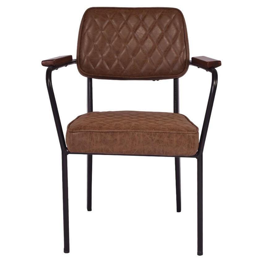 Tyne PU Leather & Metal Reception Armchair