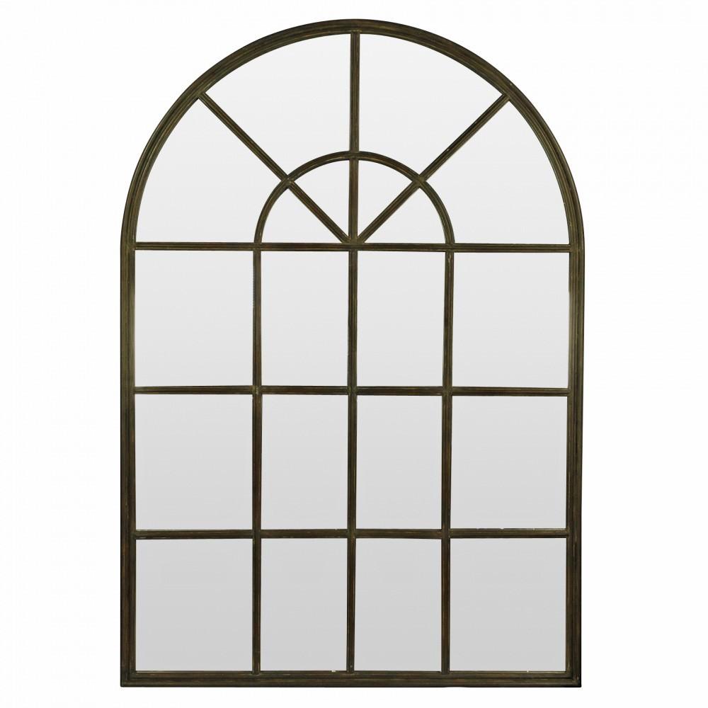 Denton Iron Arch Window Wall Mirror, 155cm, Gunmetal