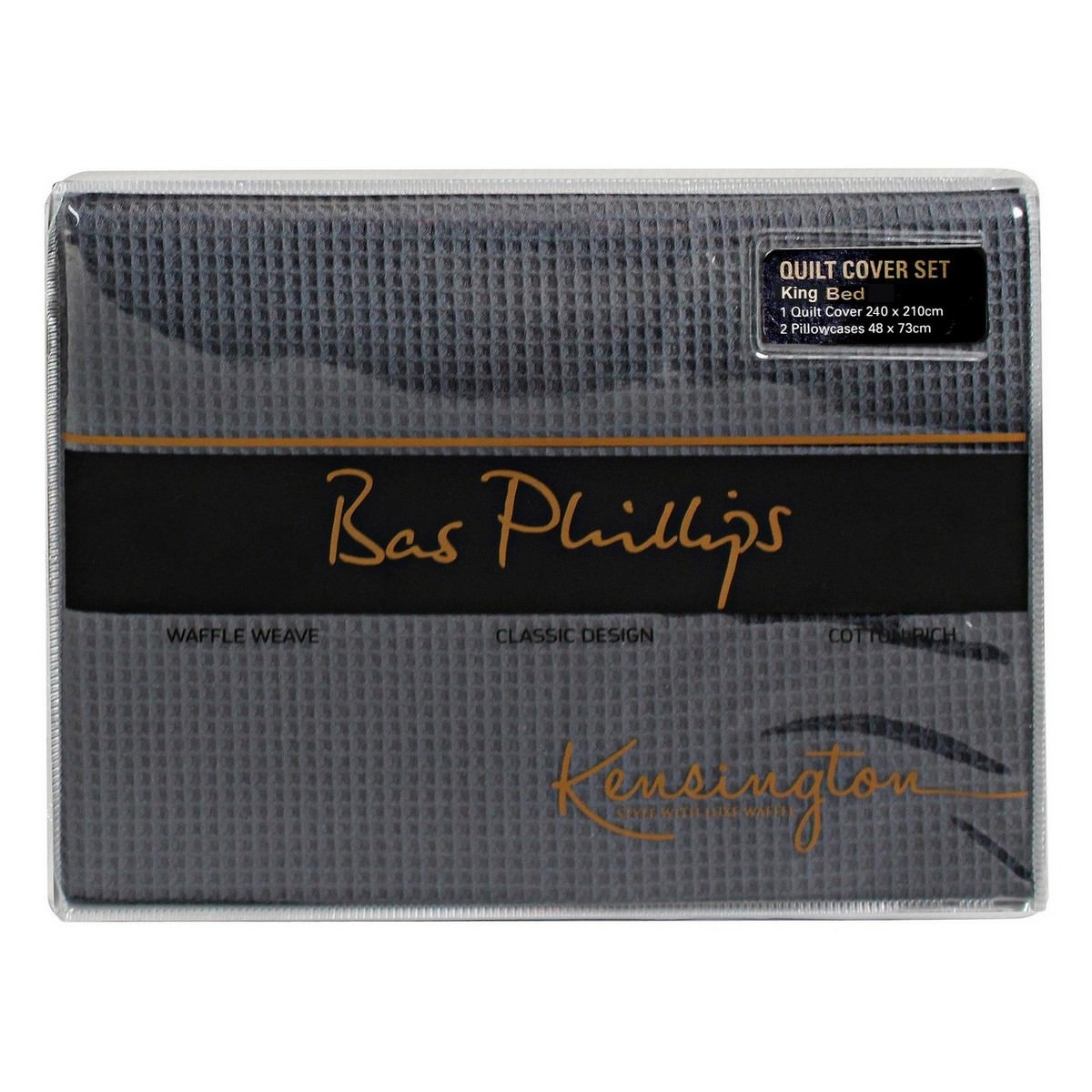 Bas Phillips Kensington Waffle Quilt Cover Set, King, Charcoal