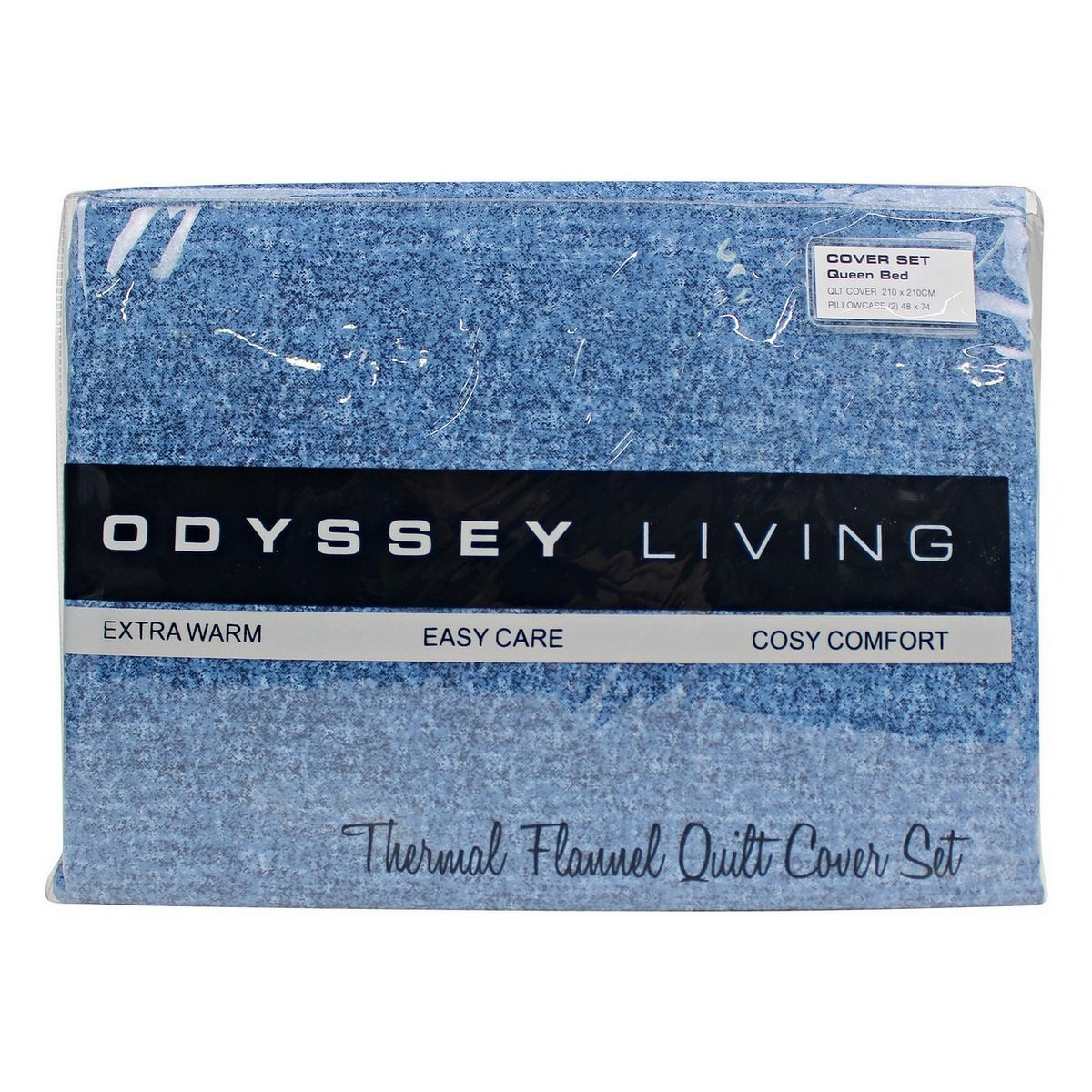 Odyssey Living Marle Thermal Flannel Quilt Cover Set, Queen, Denim