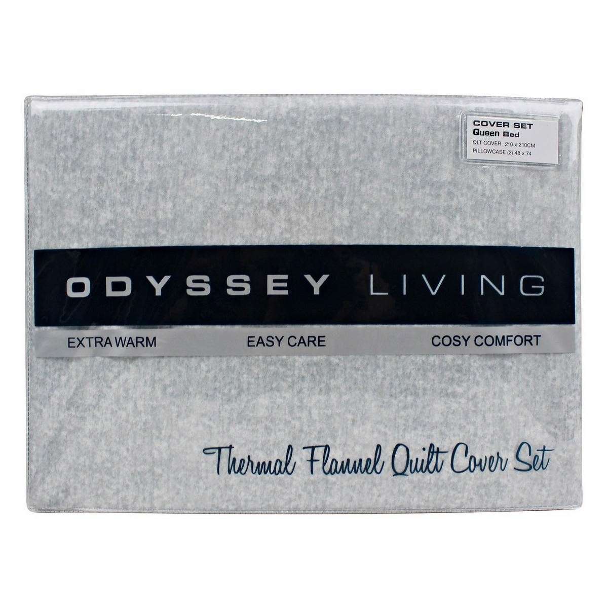 Odyssey Living Marle Thermal Flannel Quilt Cover Set, Queen, Pale Grey
