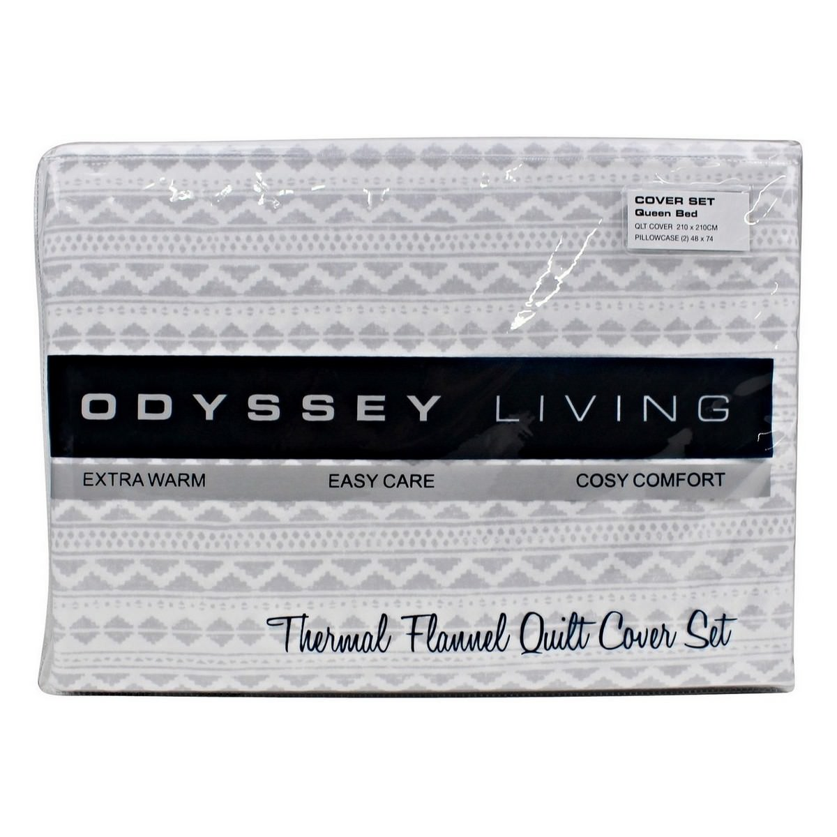 Odyssey Living Sioux Thermal Flannel Quilt Cover Set, Queen, Pale Grey