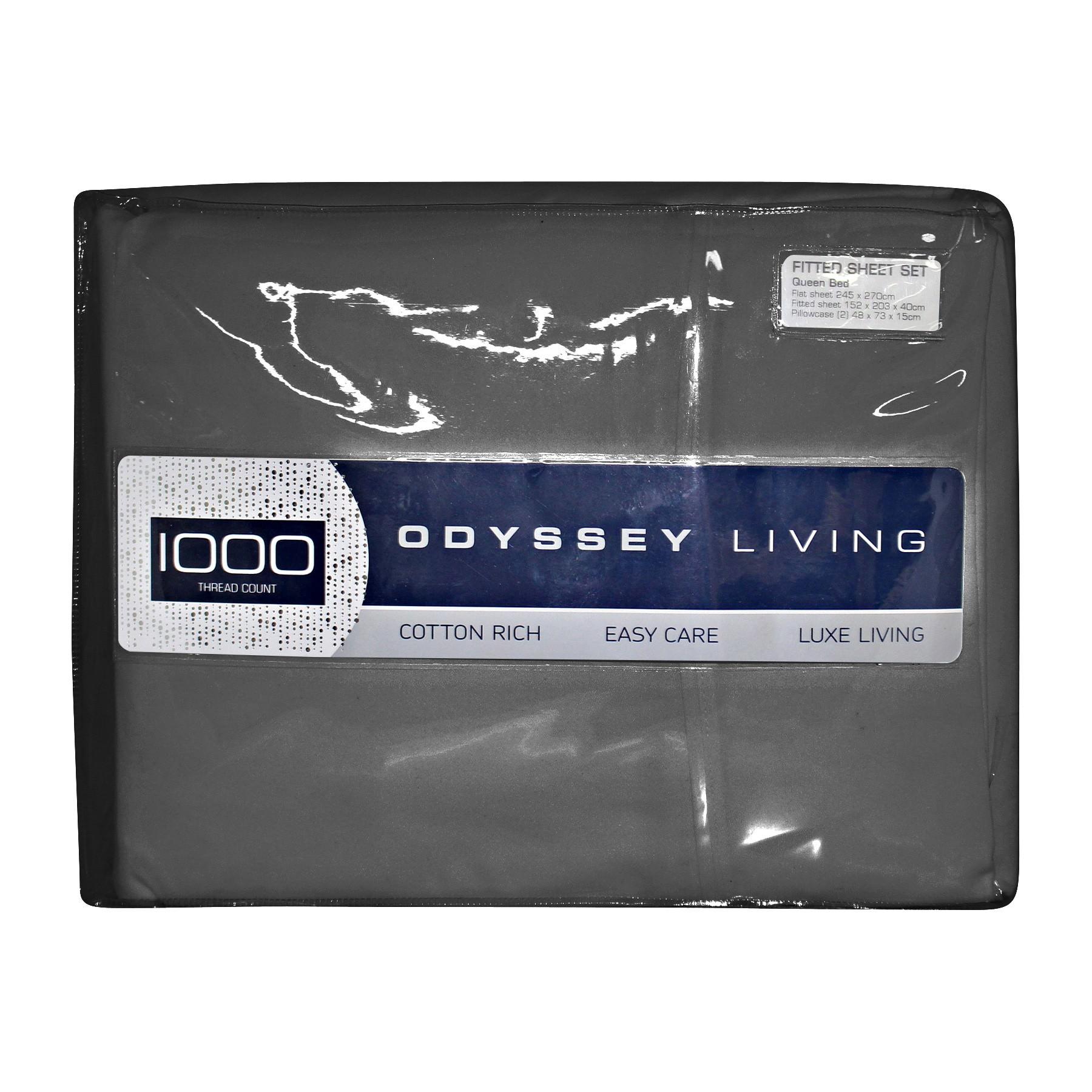 Odyssey Living 1000TC Cotton Rich Sheet Set, Double, Charcoal