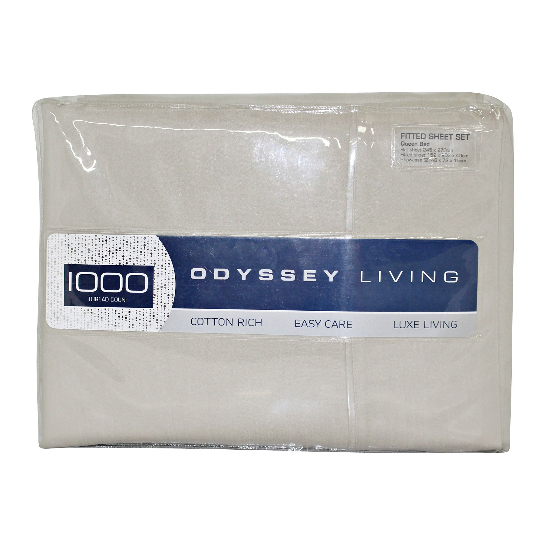Odyssey Living 1000TC Cotton Rich Sheet Set, Double, Beige