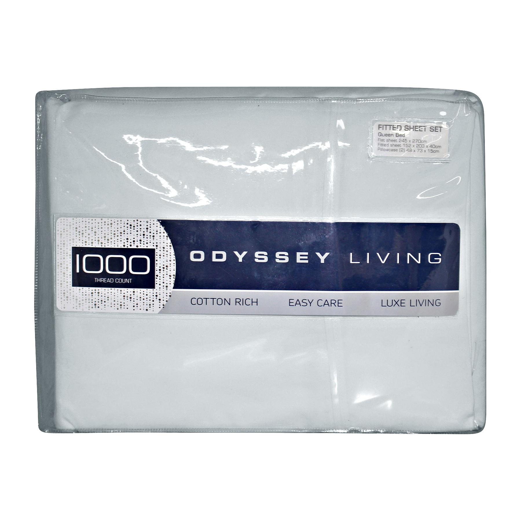 Odyssey Living 1000TC Cotton Rich Sheet Set, Double, Silver